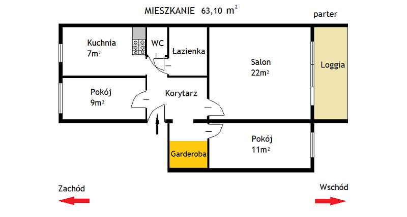 Mieszkanie 63,10m, parter